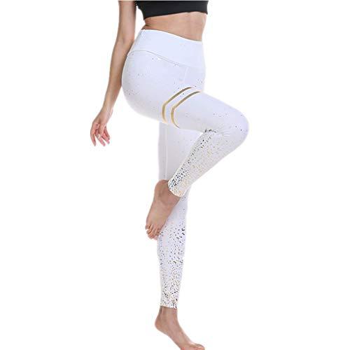 DEEWISH Hosen Damen, Frauen Leggings Hose Yogahose Sport-Leggings Jogginghose | Sport Fitness Workout Leggins | Stretch Yoga Hosen Pants | Sporthose, Weiß, S