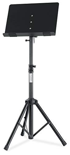 Classic Cantabile OST-350 2-in-1 Notenpult - als Notenständer und als Tischpult oder Buchständer verwendbar - Orchesterpult mit geschlossener Notenablage aus Stahl - Leseständer aus Metall - schwarz