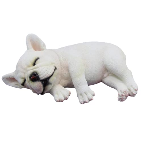 """French Bulldog Resin Collection, Miniature Dog Collectibles 6"""" Lying Sleeping French Bulldog Figurine, Realistic Lifelike Animal Statue Home Decoration, White, Size 6' 15x10x6 cm (W2)"""