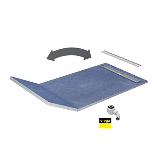 VBChome Duschelement 130+50x80x5/10,5cm Duschboard Extra Flach Beflisbar Duschrinne 8cm Abdeckung PLATE Ablauf Viega BASE S1