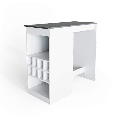 Vicco Bartisch Ross Weiß Bartresen Stehtisch Tresentisch Bistrotisch Tisch (Weiß/Anthrazit)