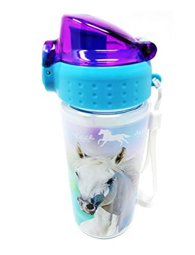 Borraccia per bambini a prova di perdite, leggera, in Tritan ano-anidride carbonica, senza BPA, 500 ml, per la scuola, l'asilo, lo sport (fantasia cavalli)