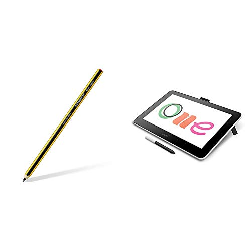 STAEDTLER 180 22-1 Noris digital EMR Stylus in Pencil Shape; Fine 0.7 mm Tip with Wacom One Digital Drawing Tablet with Screen, 13.3 Inch Graphics Display for Art and Animation Beginners