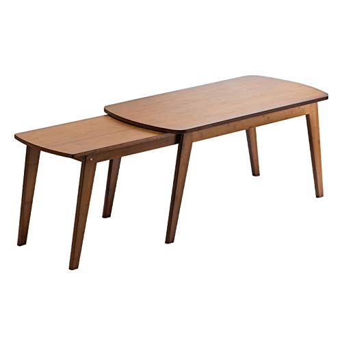 NYKK End Tables Natural Bamboo Tea Table Living Room Home Retractable Coffee Table Side Table, Rectangle, W39.4×D19.7×H19.7 End Table Nightstand Set (Color : Brown)