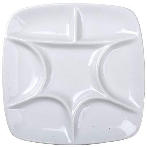 Paleta cuadrada de cerámica de ATWORTH, blanca, 14,5 cm, para acuarelas, gouache, acrílico y pintura al óleo, 7 depósitos