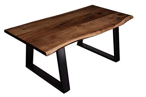 SAM Couchtisch 120 x 70 cm Tonga, echte Baumkante, Akazienholz nussbaumfarben, massiver Sofatisch, Metallbeine Schwarz trapezform, Baumkantentisch