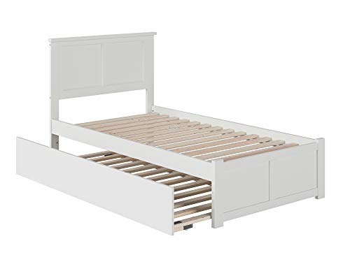 Atlantic Furniture Madison Platform Bed with Twin Size Urban Trundle, Twin, White