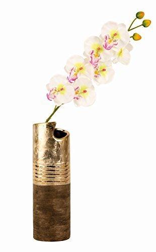 Unbekannt Moderne Deko Vase Blumenvase aus Keramik Gold/braun Höhe 30 cm