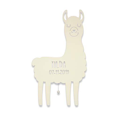 Nachtlicht Lori das Lama Kinderzimmer-Lampe/Tauf-Geschenk oder zur Geburt/Personalisiert mit Wunsch-Name für Mädchen oder Jungen Schlummerleuchte Babyzimmer Stilleuchte [Energieklasse A++]