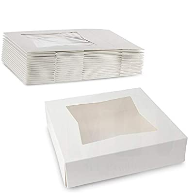 """Beautiful White Kraft Paperboard Pastry/Bakery Box Keep Donuts, Muffins, Cookies Safe - Unique Auto-Pop Up Feature and Clear Window for Visibility 10"""" Length x 10"""" Width x 2 1/2"""" - (Pack of 15) by MT Products"""