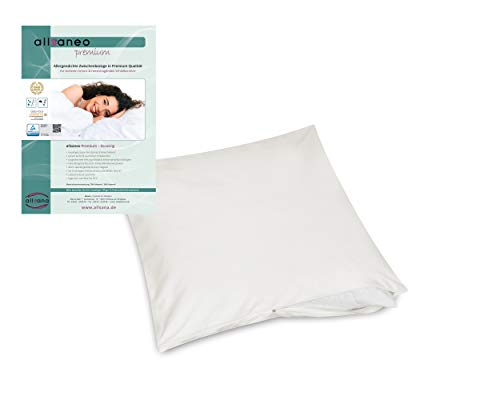allsaneo Premium Encasing Kissenbezug 40x40 cm, Allergiker Bettwäsche extra weich und leicht, Anti-Milben Zwischenbezug für Kissen