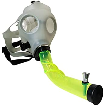 Pride Accessory Glow in the dark silicone gas mask with acrylic smoking pipe
