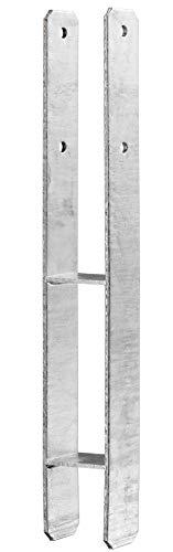 Heunert H-Pfostenträger H-Anker feuerverzinkt mit CE Zeichen inkl. Schraubenset für Carport Zaun Sichtschutz uvm. (101 x 600 x 6 mm)