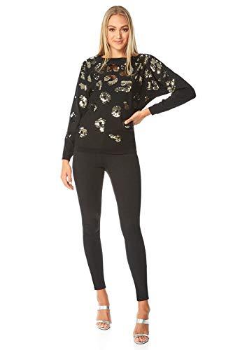 Roman Originals Vrouwen Sequin Animal Print Batwing Jumper - Dames Herfst Winter Ronde hals Lange Mouw Glitter Luipaard Trendy Warm Gezellige Gebreide trui