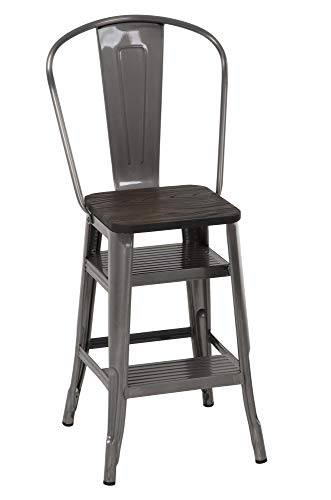 COSCO Luxor Stool with Steps, Antique Gun Metal, 1-Pack