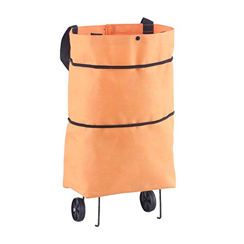 Eco bag folding bag compact shopping trolley bag, folding shopping bags with reusable wheel, removable large content cart bag,4