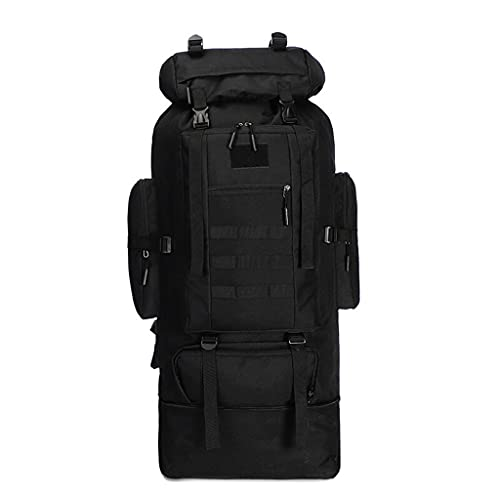 camping backpack 100L Large-capacity Military Tactical Backpackk, Waterproof and Tear-proof Camping Hiking Mountaineering Molle Rucksack Backpack outdoor backpack hiking bags ( Color : Black )