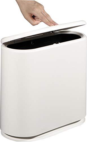 KLGO 2.4 Gallon Slim Plastic Trash Can Wastebasket,10 Liter Rectangular Double Barrel Garbage Container Bin for Bathroom, Bedroom, Kitchen and Office,Removable Liner Bucket.White