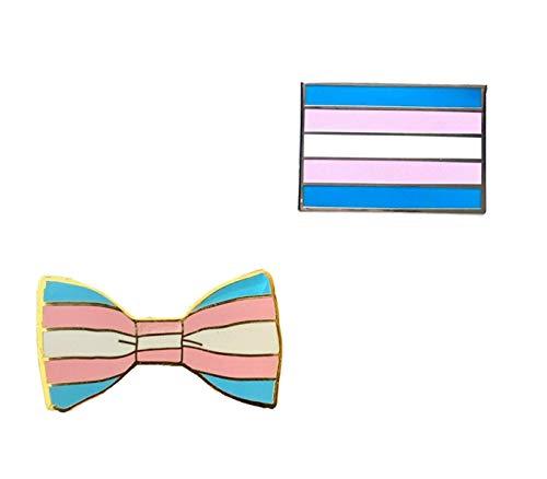 Smartbadge® Transgender-Anstecknadel mit Fliege und Transgender, länglich, Gay Pride, Harte Emaille