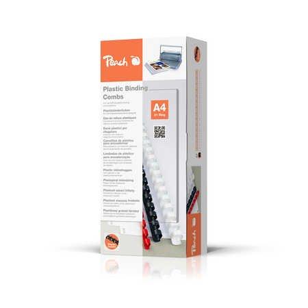 Peach PB412-02 Plastikbinderücken DIN A4, 12 mm, 95 Blatt, 100 Stück, schwarz