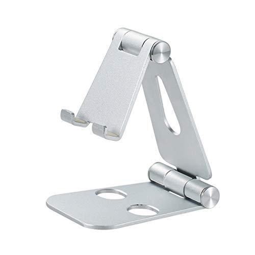 shoplease Soporte móvil,Soporte Teléfono Mesa Aluminio, soporte movil mesa ángulo ajustable,Plegable soporte para movil para iPhone Android(4-8 pulgado)plateado
