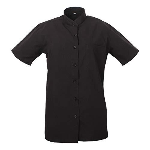 MISEMIYA - Camisa Cuello Mao Uniforme Camarera Mujer MESERO DEPENDIENTA Barman COCTELERA PROMOTRORAS Blusa - Ref.8271B - XX-Large, Negro