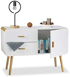 Relaxdays Cómoda nórdica Diseño Moderno Dos cajones Blanco 70 x 100 x 47 cm Madera
