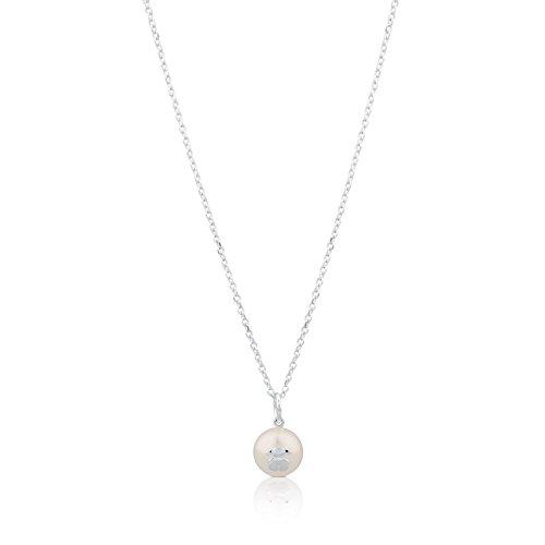 TOUS Collar Sweet Dolls de plata de primera ley con perla de 1 cm, Largo cadena 45 cm
