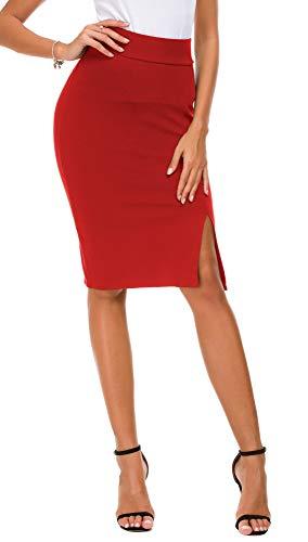 EXCHIC Lápiz de Mujer Bodycon Falda de Negocios Hendidura Lateral Dobladillo (M, Rojo)