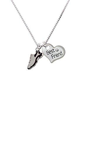 Cheer Bunny Black Running Shoe - Best Friend Heart Necklace