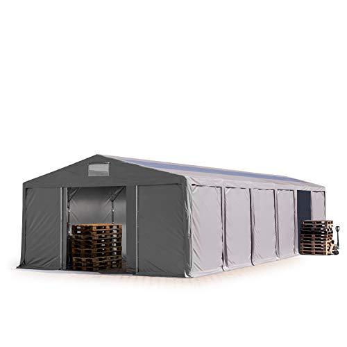 TOOLPORT Lagerzelt Industriezelt 6x12 m Zelthalle mit Oberlicht 3m Seitenhöhe grau 550g/m² PVC Plane 100% Wasserdicht Schiebetor