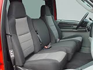 Durafit Seat Covers, F58-V1/V7, 2002-2010 Pickup F250-F550 Super Duty, Front 40/20/40 Split Bench Seat with High Back Buckets Seats, Exact Fit Seat Covers, Durable, in Black with Gray Inserts Velour