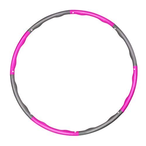 DIYARTS Hoop Abnehmbarer Fitness Hoop Abnehmbarer Schwammschaum Gepolsterte Sportausrüstung Zubehör für Frauen Männer Erwachsene Kinder Übung (Pink + Grey)