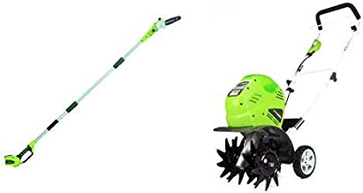 Greenworks 8' 40V Cordless Pole Saw, Battery Not Included 20302 with  10-Inch 40V Cordless Cultivator, Battery Not Included 27062A