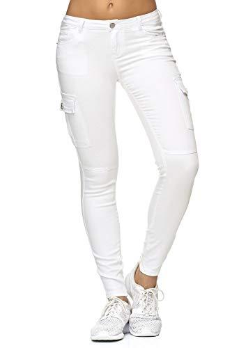 EGOMAXX Damen Treggings Cargo Stretch Skinny Jeans Hose Denim Röhrenjeans, Farben:Weiß, Größe:36 / S