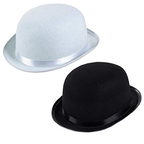 Funny Party Hats Derby Hats - 2 Pack - Black and White Bombin Hats - Bowler Hats - Roaring 20s Hats