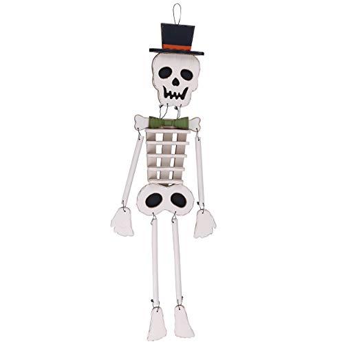 Valery Madelyn Adornos Decoraciones de Halloween, Decoración Colgante de Cráneo de Madera para Puerta Principal Patio Patio Césped Jardín, Regalo de Juguete de Halloween de Miedo Trick or Treat