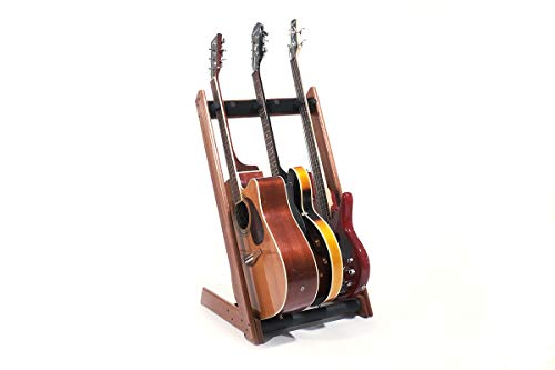 Ruach GR-3 Customisable 3 Way Multi Guitar Rack and Holder for Guitars and Cases - Mahogany