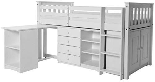Destock Meubles Ensemble Chambre Enfant lit mi-Hauteur + Bureau + rangements pin Massif Blanc Arno