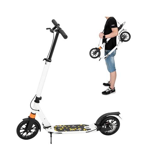 DYBITTS - Patinete plegable para niños, 2 ruedas con mecanismo de absorción de golpes, gran scooter de altura ajustable de 3 niveles para manillar de ciudad, para adultos y niños (blanco)