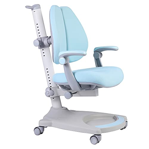 Ergonomic Kids Desk Chair, Child Children Student Study Office Chair, Adjustable Height and Seat Depth, W/Sit-Brake Casters and Lumbar Support, Non-Swivel Type (Blue+White)