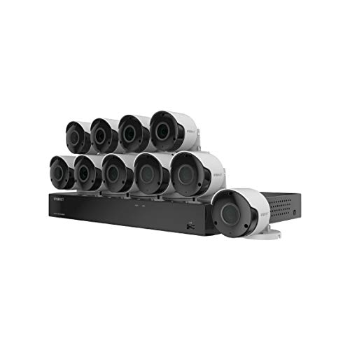 Wisenet SDH-C85105BF 16 Channel Super HD DVR Video Security System with 2TB Hard Drive and 10 5MP Weather Resistant Bullet Cameras (SDC-89445BF) (Renewed)
