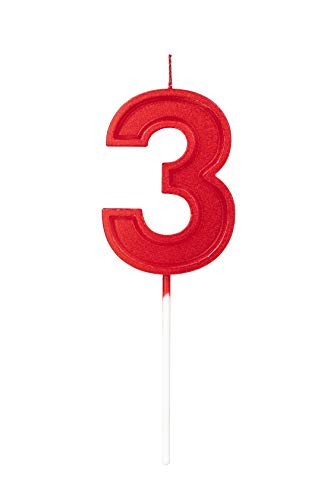 2.76in Birthday Candles Glitter Cake Red Number 3 Candles Topper Decoration for Wedding Anniversary,Kids and Adults Party Celebration (RED Number 3)