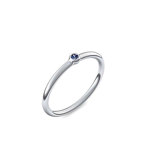 Silber Ring Saphir 925 + inkl. Luxusetui + Saphir Ring Silber Saphirring Silber (Silber 925) - Slick one Amoonic Schmuck Größe 58 (18.5) KA11 SS925SAFA58