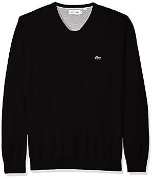 Lacoste Men s Long Sleeve Half Moon V Neck Jersey Sweater Flour/Black Medium