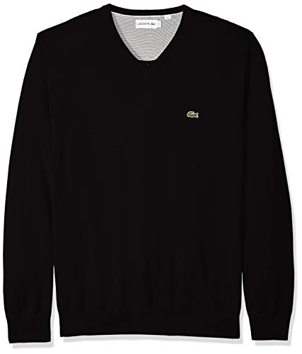 Lacoste Men's Long Sleeve Half Moon V Neck Jersey Sweater, Flour/Black, Large