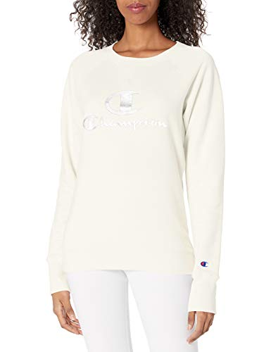 Champion Women's Crewneck, Chalk White, Medium