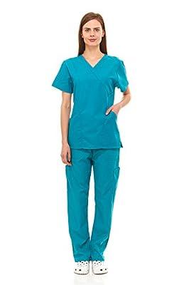 Scrubs For Women Medical Nurses Uniform Mock Wrap Top & Bottom Pants 6 Pocket Full Set Excellent Quality By Denice 1107