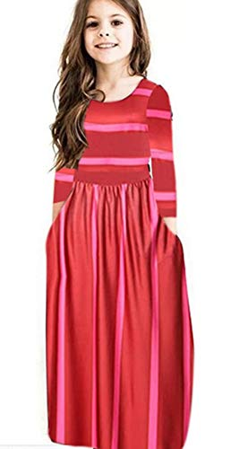 Miss Bei Girls Summer Short Sleeve Stripe Holiday Dress Maxi Dress with Pocket Size 0-11T,Long Sleeve has Arrived 3-15T!!
