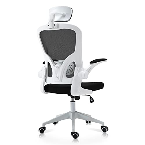 IPKIG Ergonomic Office Chair, Home Office Desk Chairs with Wheels and Flip-Up Arms, Breathable Mesh Chair Mid Back Computer Chair with Headrest and Ergonomic Lumbar Support, Swivel Desk Chair(White-A)